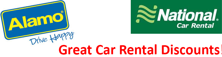 Discounts of up to 10% off on your car rental with Alamo. Discounts of up to 20% off on your car rental with National